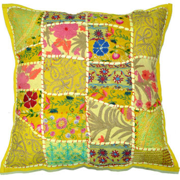 Xl Throw Pillows : 24X24 XL Yellow Floor pillow Patchwork from BeingGypsy Extra