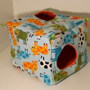 Sugar Glider Cube Chinchilla Hidey Rat Guinea Pig Cozy Degu Bed Cage Toy Decoration Sewn Hammock Small Pets Cow Farm Blue Orange Green Teal