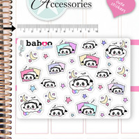 Kawaii Sleep Stickers Cute Baboo Panda Stickers Bed Stickers Planner Stickers Functional Stickers Decorative Stickers NR782