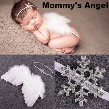 """""""Mommy's Angel"""" White Angel Wings Baby Photo Prop Set"""