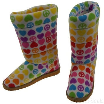 Melissa & Doug Boot Slippers Hope Girls Large 4-6.5 Peace Hearts BeePosh Fleece