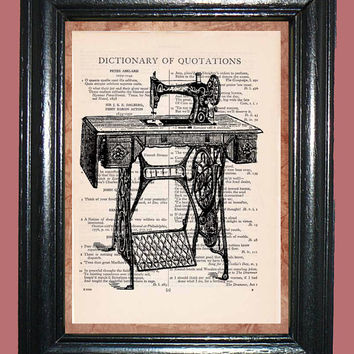 Antique Singer Sewing Machine - Vintage Dictionary Page Art Upcycled Book Art Print on Dictionary Page, Sewing Machine Print