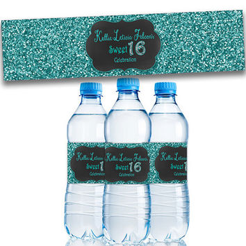 Sweet 16 Party Favors - Turquoise Sweet 16 Water Bottle Labels - Teal Blue Sweet Sixteen - Party Decor - Personalized - Bling