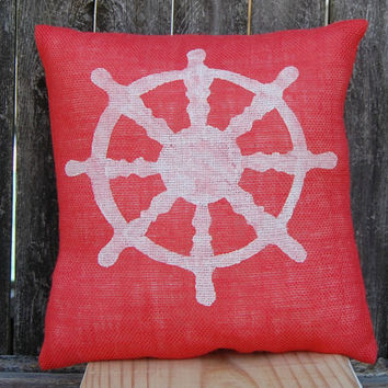 Nautical Pillow, Beach House Pillow, Ship's Wheel Pillow, Burlap Pillow,Summer Pillow,Decorative Pillows,Accent Pillows,Throw Pillow,Cushion