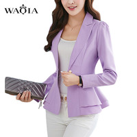 Plus Size S-3XL 2016 New Women Blazers And Jackets Blazer Candy Color Slim Suit Flouncing Long-Sleeved Blazer Small Coat Outwear