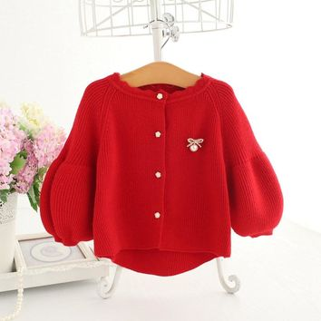 Baby Cardigan Red Wool Knitted Sweater For Baby Girls Kids Clothes Baby Long Sleeve Coat Fashion Jacket A014 Winter Outerwear