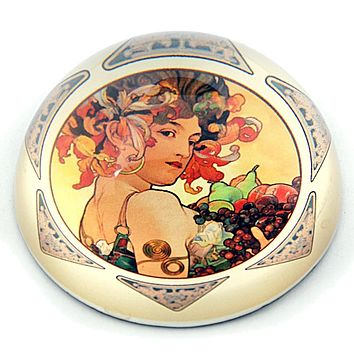 Mucha Lady Holding Fruit 1897 Belle Epoque Glass Dome Paperweight 3W