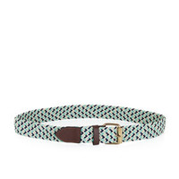 White/Green BCBG Braided Stretch Cord Waist Belt