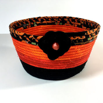 Coiled Rope Basket in Halloween Orange Black - Candy Corn Bowl  Autumn Fall Decor -  Organizer - Handmade Fiber Art Fabric Bowl  Sally Manke
