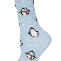 Penguin Pinspot Ankle Socks - Pale Blue