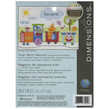 """Train Birth Record Counted Cross Stitch Kit-7""""""""X5"""""""" 14 Count"""