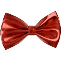 Metallic Faux Leather Hair Bow, Red