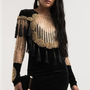 AKIRA Long Sleeve Velvet Fringe Glitter Stripe Mesh Metallic Ball Dress in Black