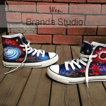 New-Galaxy Shoes,Galaxy Converse,Hand Paint On Custom Converse Only 89Usd,Studio Hand