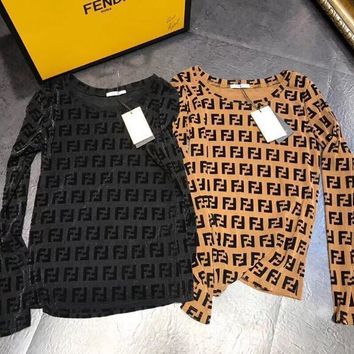 FENDI Newest Fashion Women Sexy Full F Letter Long Sleeve Round Collar Perspective Top