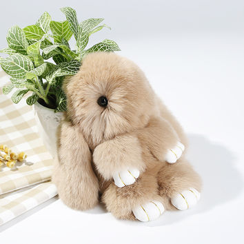 Rex Rabbit Furs Keychains Pendant Bag Car Charm Tag Cute Mini Rabbit Toys Doll Fur Key Chains SM6