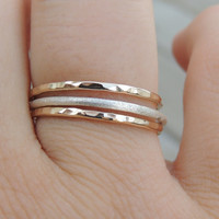 MINI STARDUST Set 14kt Yellow Goldfilled and Sterling Silver Rings \\ luxury stacking ring set \\ Mixed ring set \\ made to order