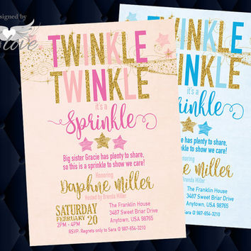 Twinkle Little Star Baby Sprinkle Invitation | pink and gold invitation | silver and blue | CUSTOM printable digital download | Custom order