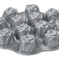 Nordic Ware Cast-Aluminum Nonstick Muffin Pan, Sweetheart Rose