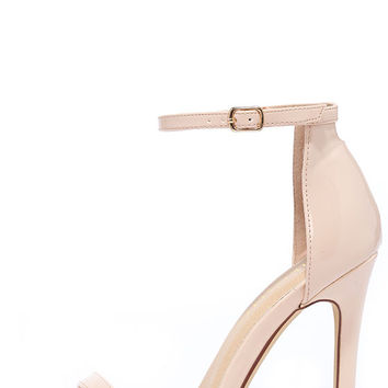 VIP Ticket Nude Patent Ankle Strap Heels