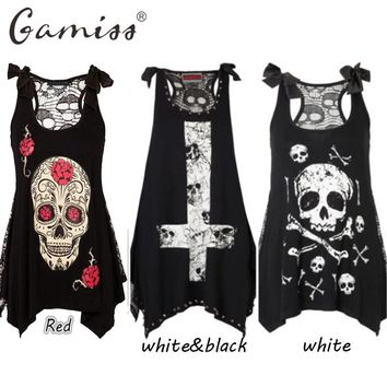 Gamiss 2017 3D Skull Printed Black Tops Sleeveless Lace Hollow Out Casual Tops Female Rock Punk Style Skull Print Women Tshirts