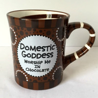 Domestic Goddess Worship Me In Chocolate Mug Large Novelty Coffee Cup Brown