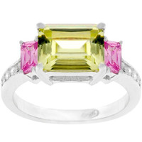 Emerald Cut Triplet Ring, size : 10