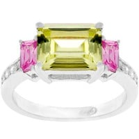 Emerald Cut Triplet Ring, size : 05