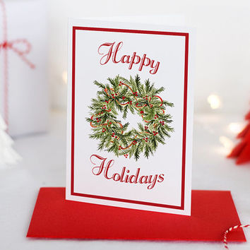 "Watercolor Christmas Card Set - Holiday Greeting Card Merry Christmas - Happy Holidays ""Christmas Wreath"" Greeting Card - Season's Greetings"