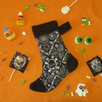 Witch's Sock - Halloween Candy and Treat Stocking - Skull Bandana - White & Black Holiday Stocking