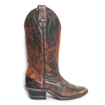 Distressed Brown Cowboy Boots // Cowgirl Boots // Western Boots // Womens Cowboy Boots