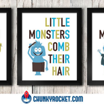 "Monster Bathroom - Kids Bathroom Decor, Little Monsters, Brush Your Teeth, Comb Your Hair, Wash Your Hands, 3 Piece 5"" x 7"" Set Wall Art"