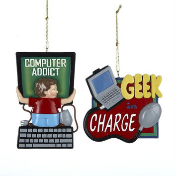 "12 Christmas Ornaments -  "" Computer Addict ""  And  "" Geek In Charge """