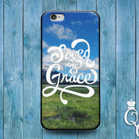 iPhone 4 4s 5 5s 5c 6 6s plus iPod Touch 4th 5th 6th Generation Cute Bible Christian Phrase Quote Saved by Grace Swiss Alps Phone Cover Case