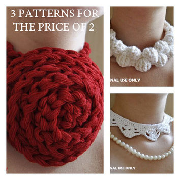 3 Crochet Necklace Patterns  / PDF format Pattern / crochet accessories pattern / crochet jewelry pattern /