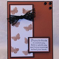 Striking Butterfly Sympathy Card with Lace Ribbon