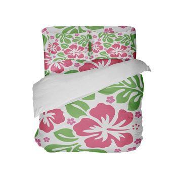 Preppy Pink and Green Hibiscus Beach Comforter