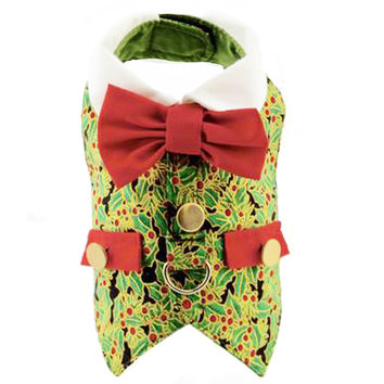 Holly Christmas Holiday Dog Harness Vest