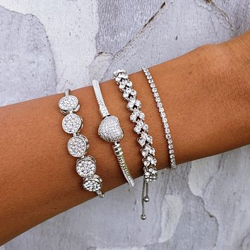 CZ Crystal Heart Bracelet Set