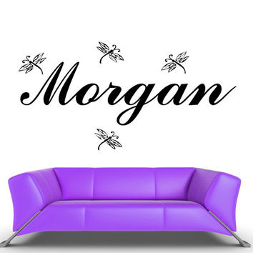 Wall Vinyl Sticker Decals Decor Art Bedroom Design Mural Custom Name Cartoon Dragonfly Baby Kids (z475)