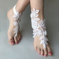EXPRESS SHIPPING White or ivory lace barefoot sandals wedding barefoot lace sandals Beach wedding barefoot sandals  Anklet Bridesmaid gift