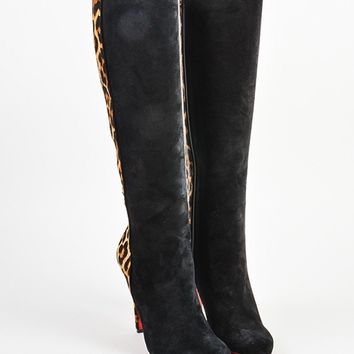 HCXX Christian Louboutin Black and Leopard Pony Hair   Acheval 100   Boots