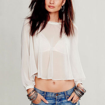White Chiffon Back Slit Lace Puff Long Sleeve Cropped Top