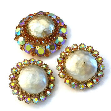 Weiss Faux Baroque Pearls and Rhinestone Demi, Brooch and Earring Set, Aurora Borealis Topaz Chatons, Circular, 1960s