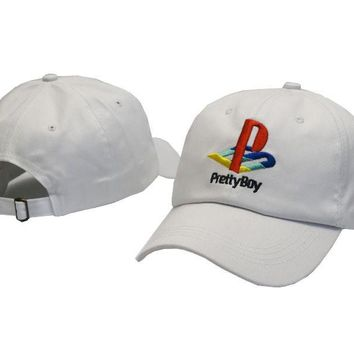 PRETTY BOY Embroidered Baseball Cap Hat White