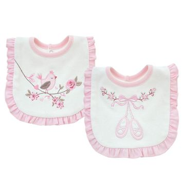 2 layers Cotton Baby Pink Flowers Lace Bibs Waterproof Bandana Baby Girls Embroidered Bibs & Burp Cloths Baby Clothing Towel
