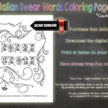 Italian Swear Words Coloring Page - Porca Troia