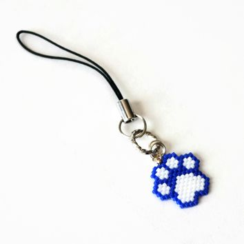 Blue And White Beaded Cat Paw Charm And Decor
