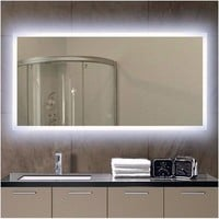 Miseno MM4824LED 48 inch W x 24 inch H Rectangular Frameless Wall Mounted Mirror with LED Lighting, Red
