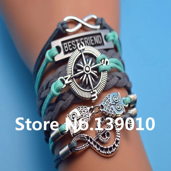 Hot Fashion Men Owl Compass Musical Best Friend Infinity Charm Bracelet Bangles Multilayer Gray Blue Leather Rope Woven Jewelry